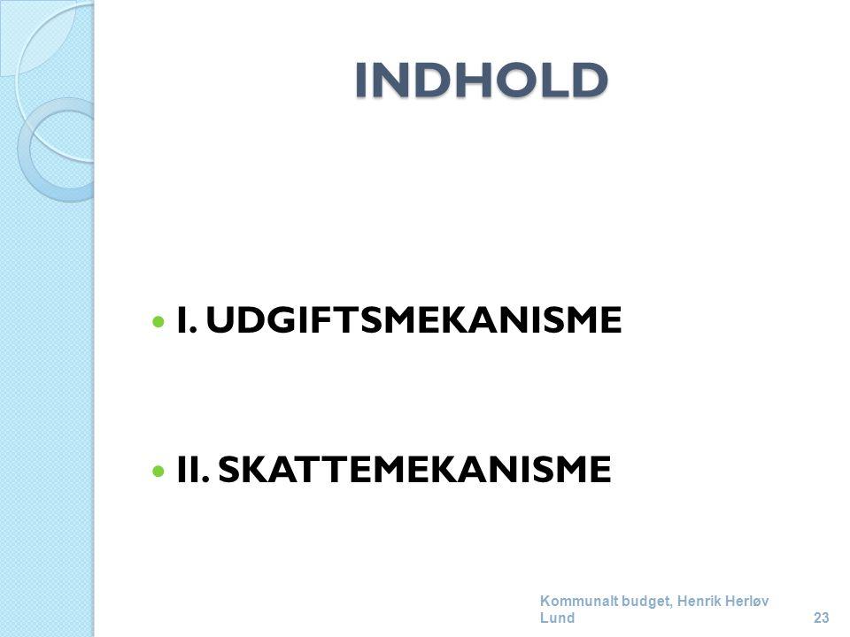 INDHOLD I. UDGIFTSMEKANISME II. SKATTEMEKANISME Kommunalt budget, Henrik Herløv Lund23