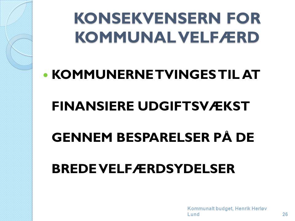 KONSEKVENSERN FOR KOMMUNAL VELFÆRD KOMMUNERNE TVINGES TIL AT FINANSIERE UDGIFTSVÆKST GENNEM BESPARELSER PÅ DE BREDE VELFÆRDSYDELSER Kommunalt budget, Henrik Herløv Lund26