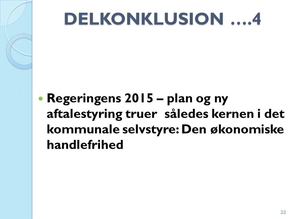DELKONKLUSION ….4 Regeringens 2015 – plan og ny aftalestyring truer således kernen i det kommunale selvstyre: Den økonomiske handlefrihed 33