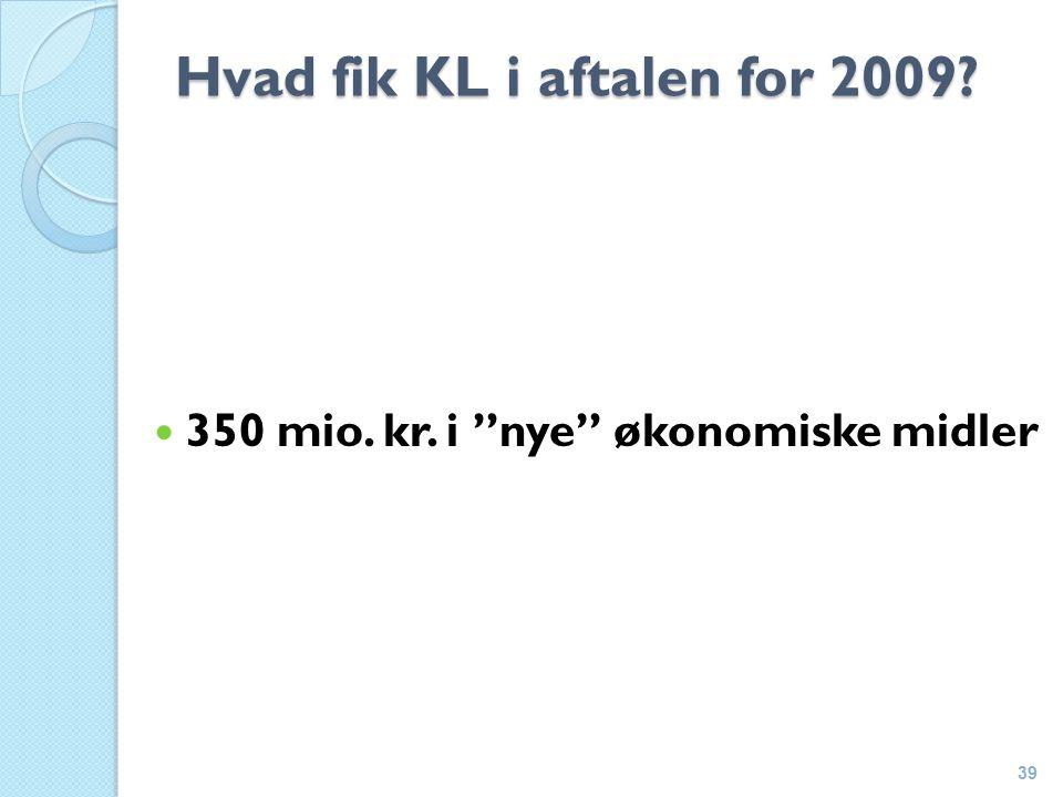 Hvad fik KL i aftalen for 2009 350 mio. kr. i nye økonomiske midler 39
