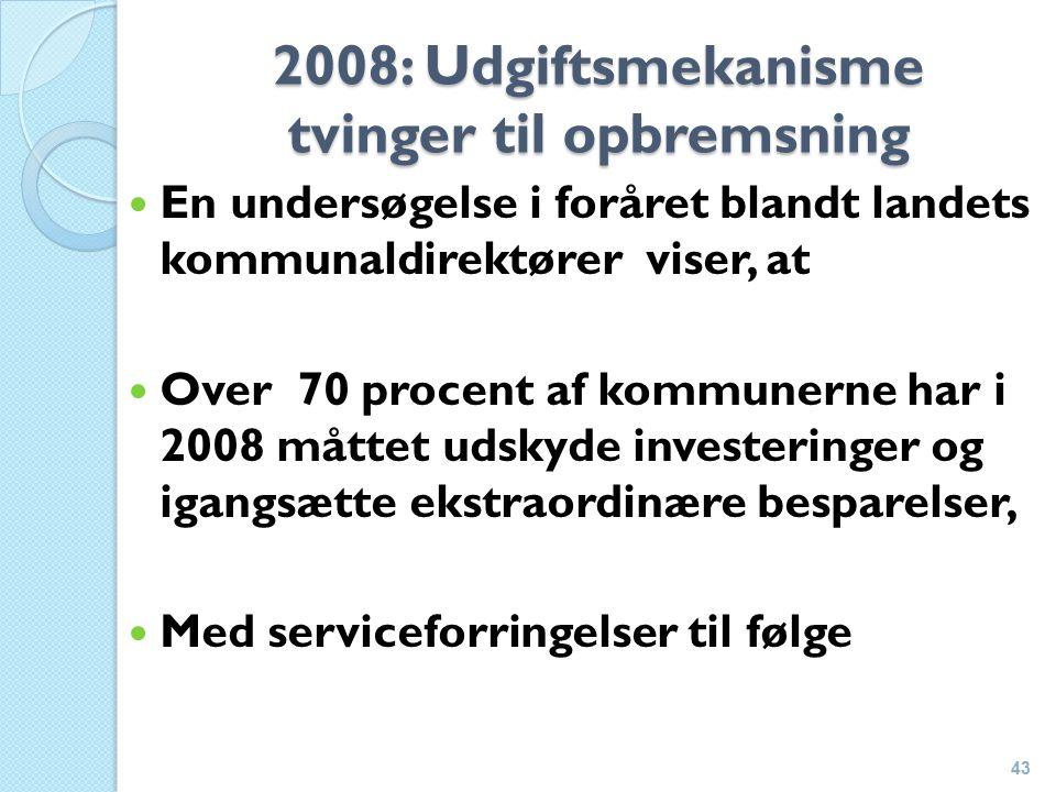 2008: Udgiftsmekanisme tvinger til opbremsning En undersøgelse i foråret blandt landets kommunaldirektører viser, at Over 70 procent af kommunerne har i 2008 måttet udskyde investeringer og igangsætte ekstraordinære besparelser, Med serviceforringelser til følge 43