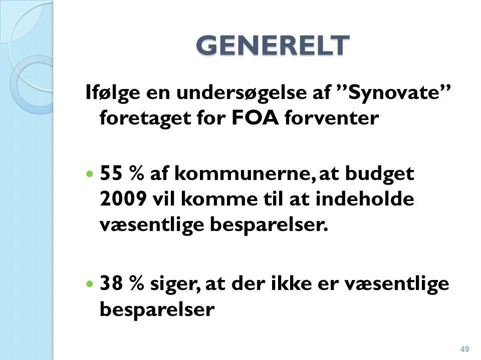 GENERELT Ifølge en undersøgelse af Synovate foretaget for FOA forventer 55 % af kommunerne, at budget 2009 vil komme til at indeholde væsentlige besparelser.