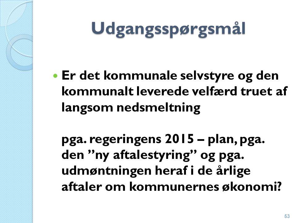 Udgangsspørgsmål Er det kommunale selvstyre og den kommunalt leverede velfærd truet af langsom nedsmeltning pga.