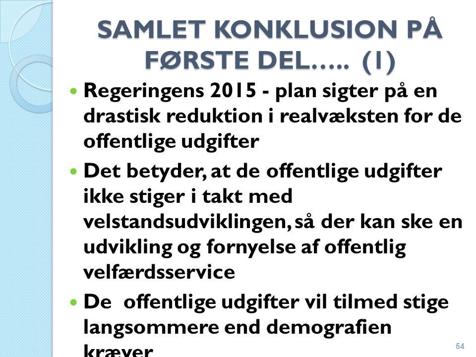 SAMLET KONKLUSION PÅ FØRSTE DEL…..