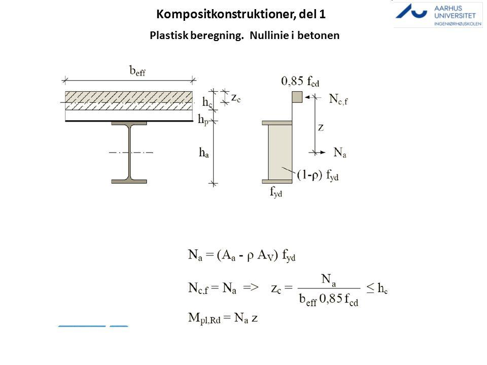 Kompositkonstruktioner, del 1 Plastisk beregning. Nullinie i betonen