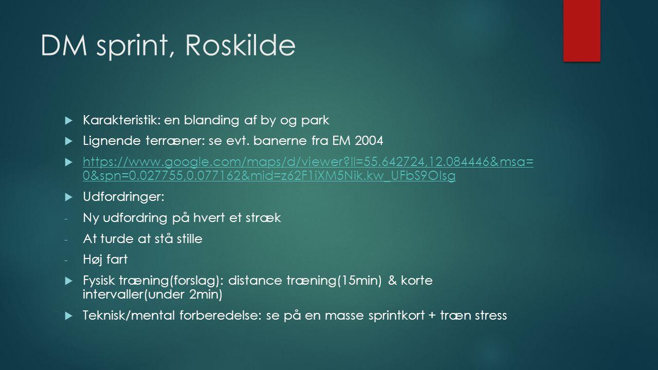 DM sprint, Roskilde  Karakteristik: en blanding af by og park  Lignende terræner: se evt.