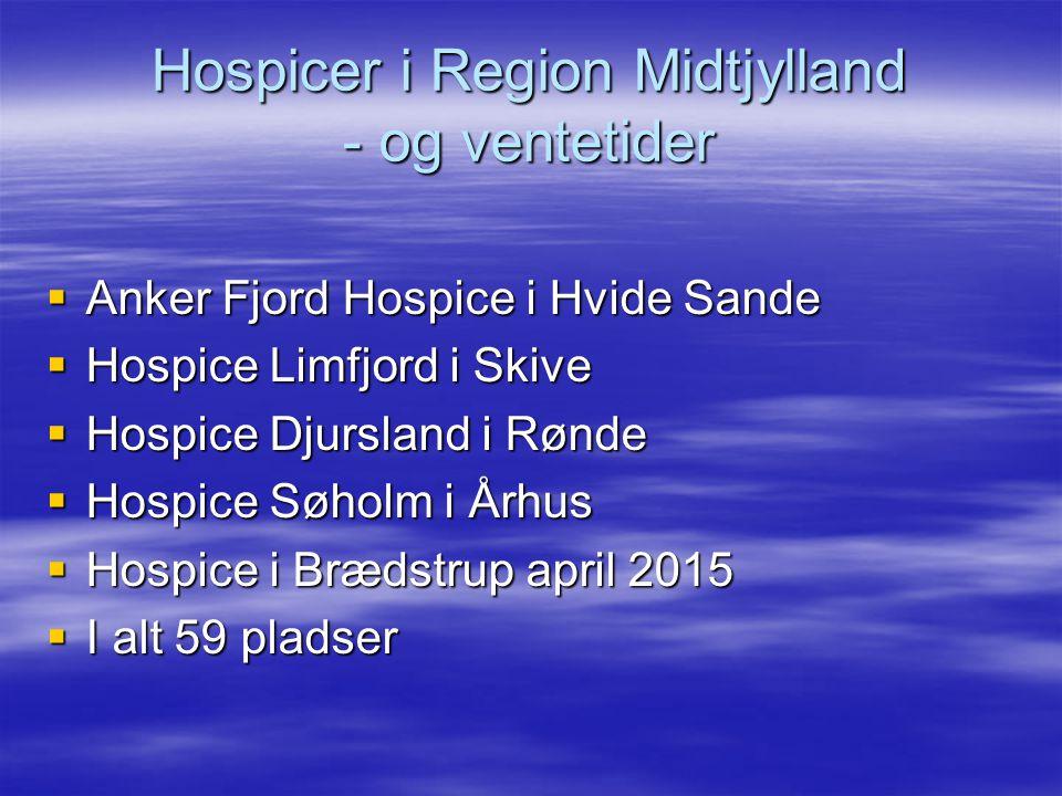 Hospicer i Region Midtjylland - og ventetider  Anker Fjord Hospice i Hvide Sande  Hospice Limfjord i Skive  Hospice Djursland i Rønde  Hospice Søholm i Århus  Hospice i Brædstrup april 2015  I alt 59 pladser