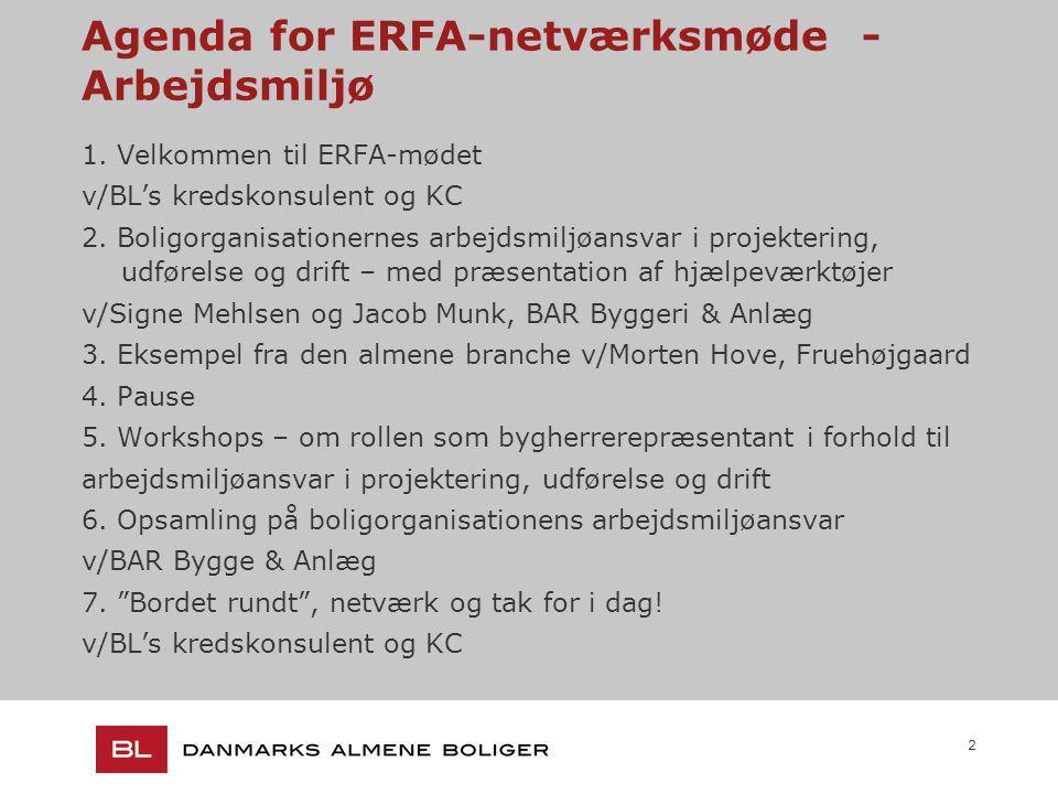 2 Agenda for ERFA-netværksmøde - Arbejdsmiljø 1.