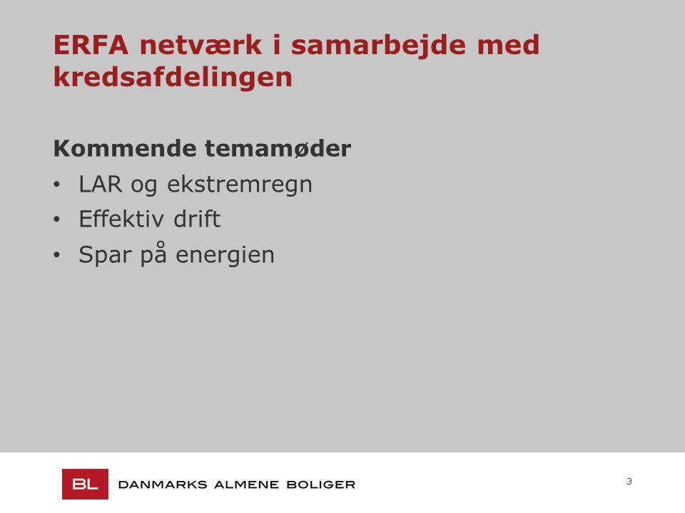 3 ERFA netværk i samarbejde med kredsafdelingen Kommende temamøder LAR og ekstremregn Effektiv drift Spar på energien
