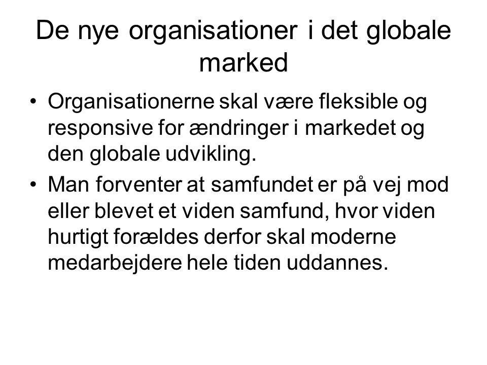 De nye organisationer i det globale marked Organisationerne skal være fleksible og responsive for ændringer i markedet og den globale udvikling.