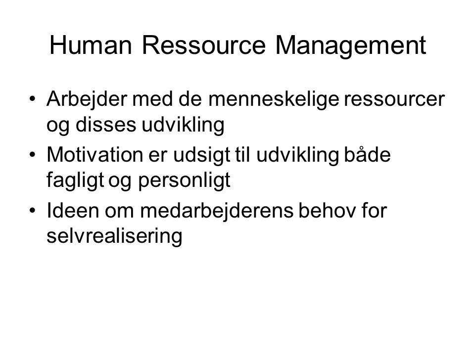 Human Ressource Management Arbejder med de menneskelige ressourcer og disses udvikling Motivation er udsigt til udvikling både fagligt og personligt Ideen om medarbejderens behov for selvrealisering