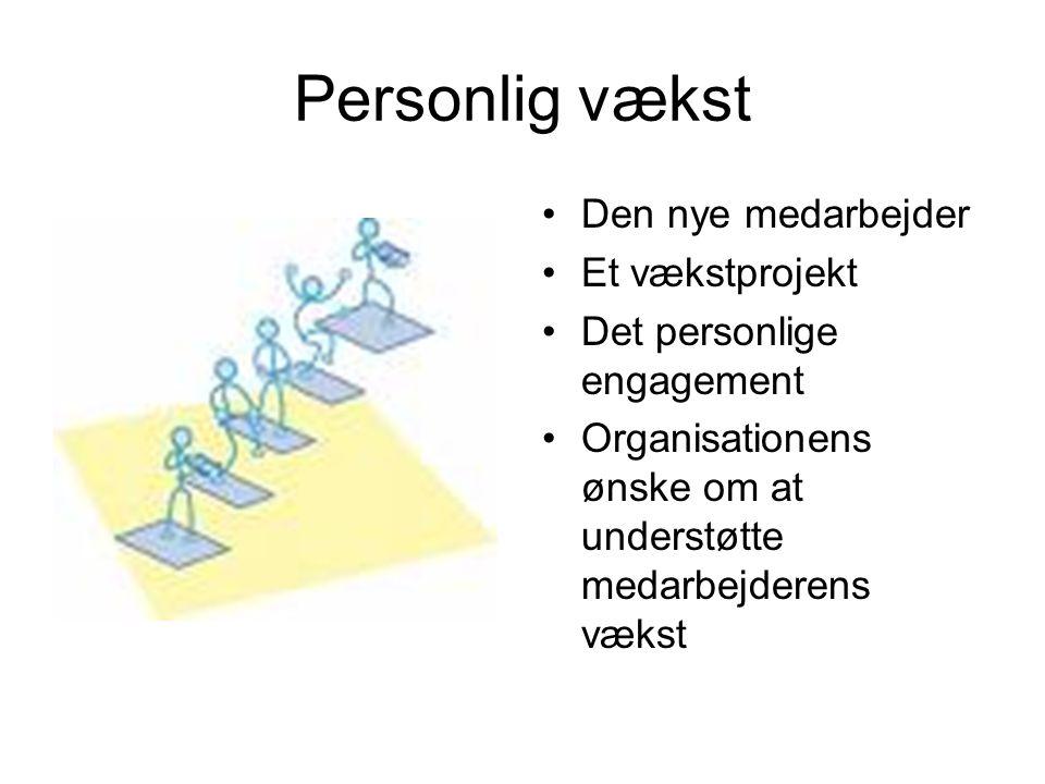 Personlig vækst Den nye medarbejder Et vækstprojekt Det personlige engagement Organisationens ønske om at understøtte medarbejderens vækst