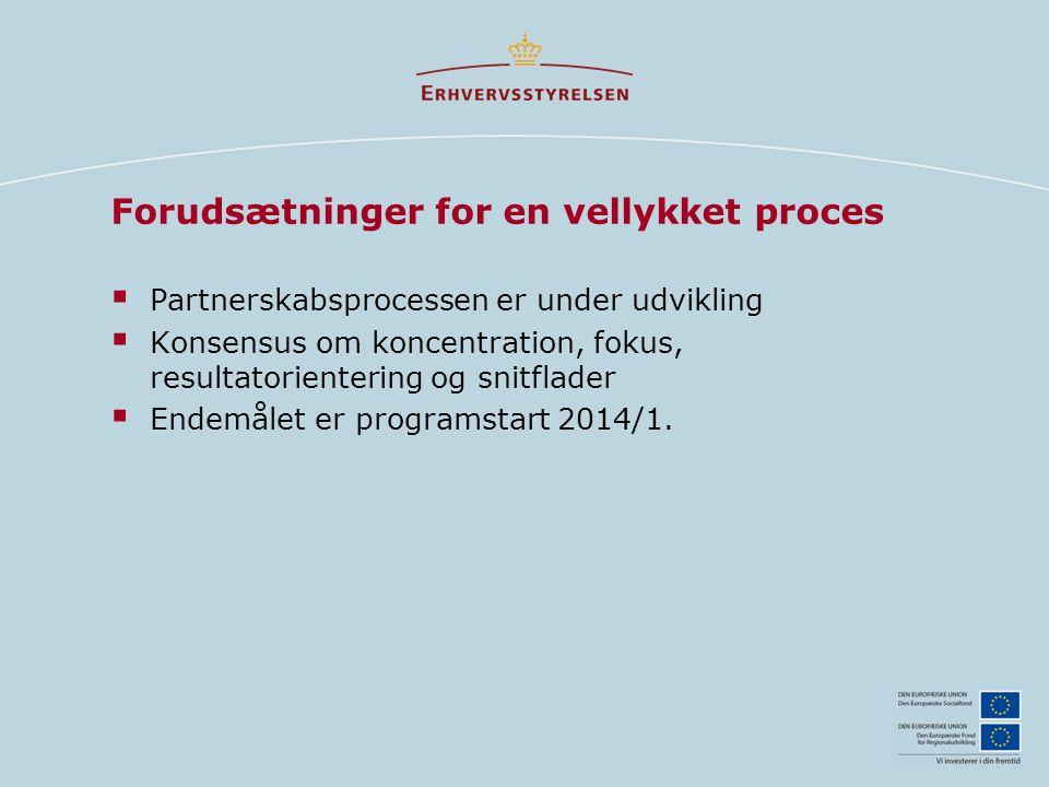 Forudsætninger for en vellykket proces  Partnerskabsprocessen er under udvikling  Konsensus om koncentration, fokus, resultatorientering og snitflader  Endemålet er programstart 2014/1.
