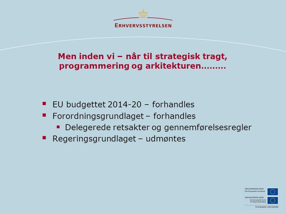 Men inden vi – når til strategisk tragt, programmering og arkitekturen………  EU budgettet 2014-20 – forhandles  Forordningsgrundlaget – forhandles  Delegerede retsakter og gennemførelsesregler  Regeringsgrundlaget – udmøntes