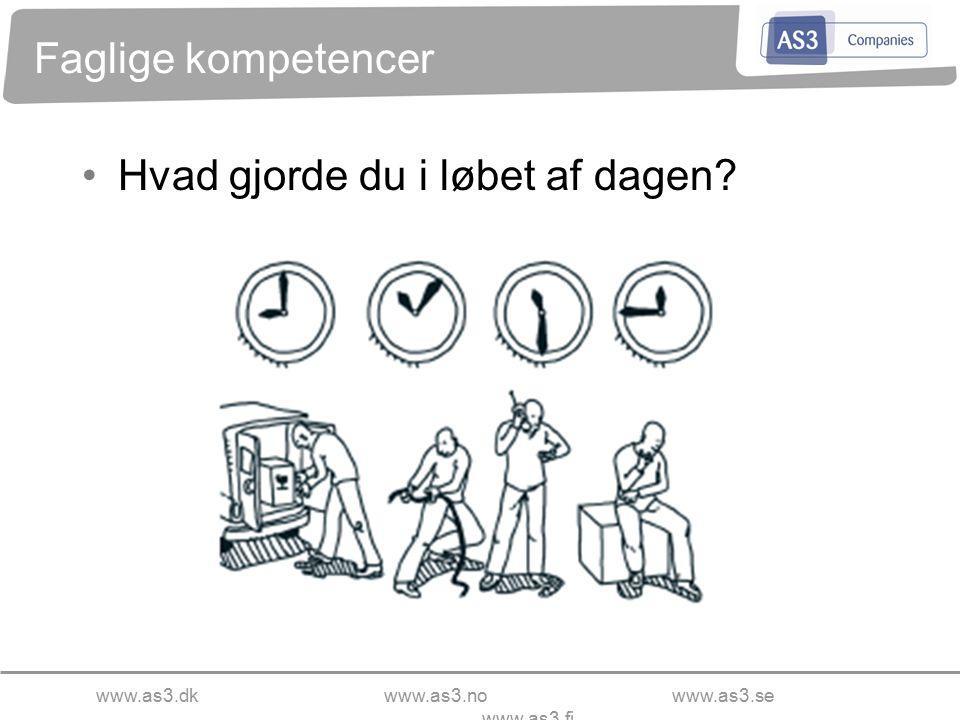 www.as3.dkwww.as3.nowww.as3.se www.as3.fi Faglige kompetencer Hvad gjorde du i løbet af dagen