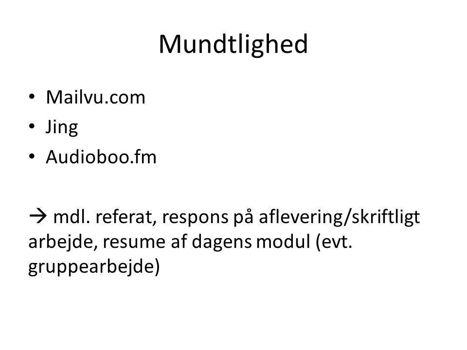 Mundtlighed Mailvu.com Jing Audioboo.fm  mdl.