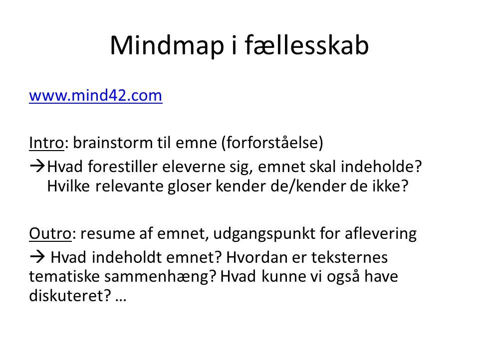 Mindmap i fællesskab www.mind42.com Intro: brainstorm til emne (forforståelse)  Hvad forestiller eleverne sig, emnet skal indeholde.