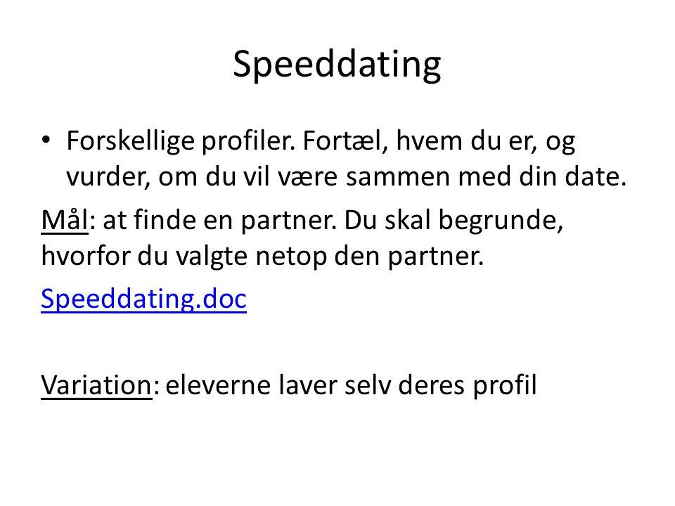 Speeddating Forskellige profiler.