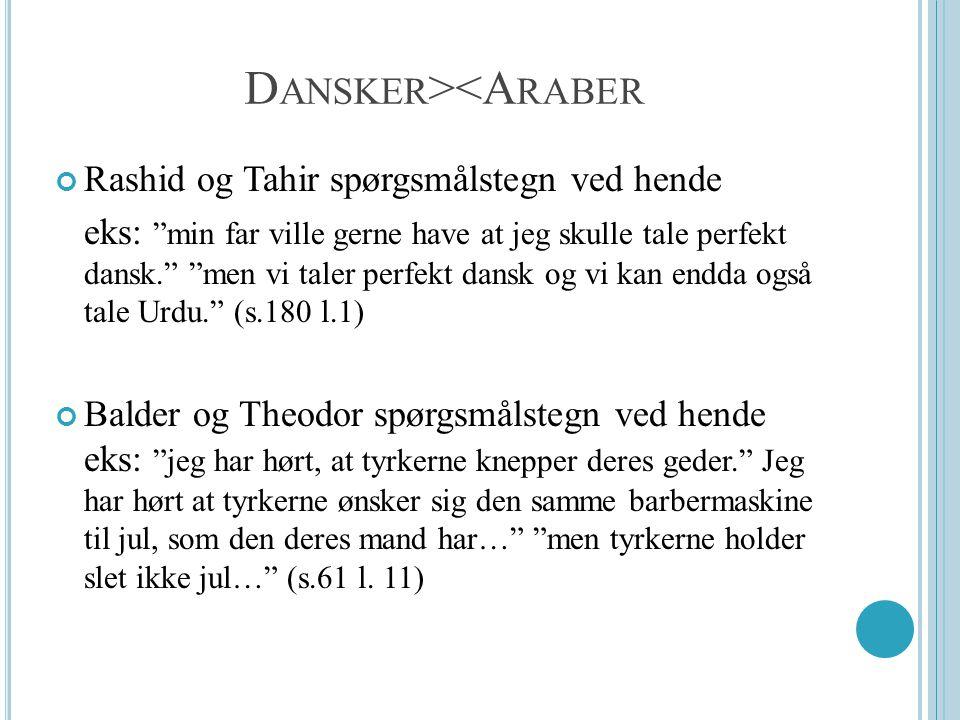 D ANSKER ><A RABER Rashid og Tahir spørgsmålstegn ved hende eks: min far ville gerne have at jeg skulle tale perfekt dansk. men vi taler perfekt dansk og vi kan endda også tale Urdu. (s.180 l.1) Balder og Theodor spørgsmålstegn ved hende eks: jeg har hørt, at tyrkerne knepper deres geder. Jeg har hørt at tyrkerne ønsker sig den samme barbermaskine til jul, som den deres mand har… men tyrkerne holder slet ikke jul… (s.61 l.