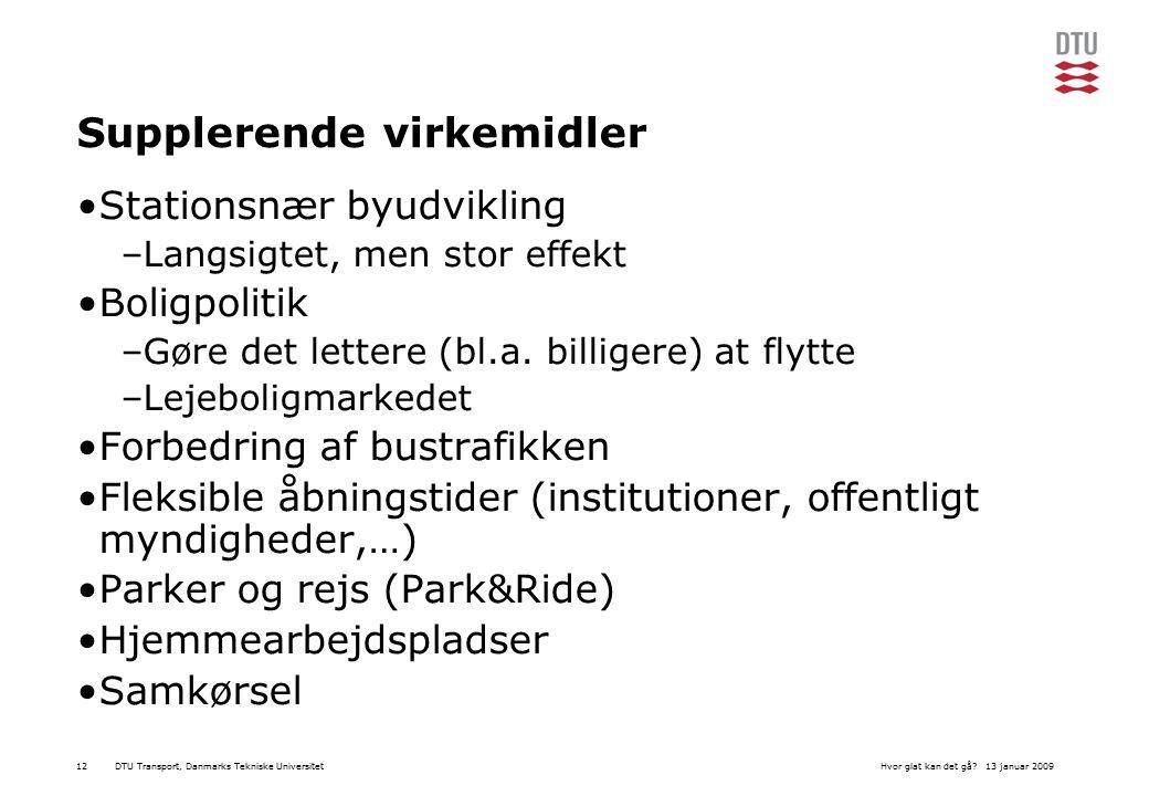 DTU Transport, Danmarks Tekniske Universitet13 januar 2009Hvor glat kan det gå 12 Supplerende virkemidler Stationsnær byudvikling –Langsigtet, men stor effekt Boligpolitik –Gøre det lettere (bl.a.