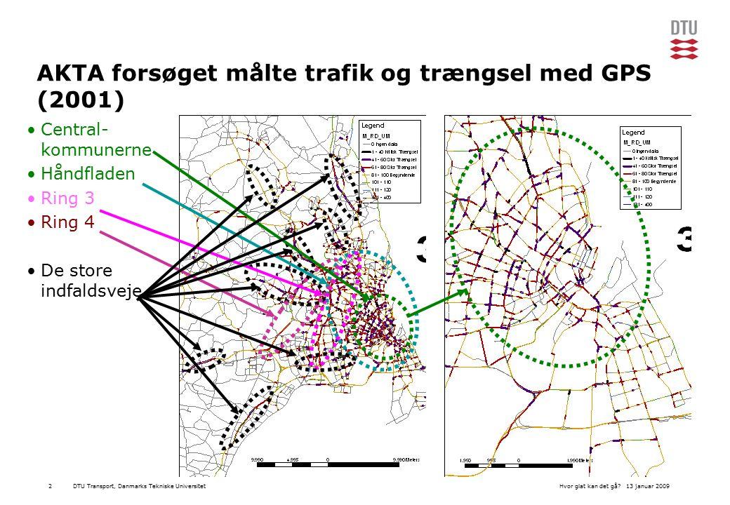 DTU Transport, Danmarks Tekniske Universitet13 januar 2009Hvor glat kan det gå 2 AKTA forsøget målte trafik og trængsel med GPS (2001) Central- kommunerne Håndfladen Ring 3 Ring 4 De store indfaldsveje