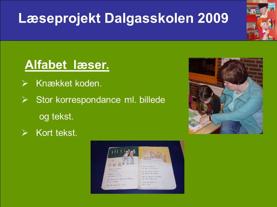 Læseprojekt Dalgasskolen 2009 Alfabet læser.  Knækket koden.