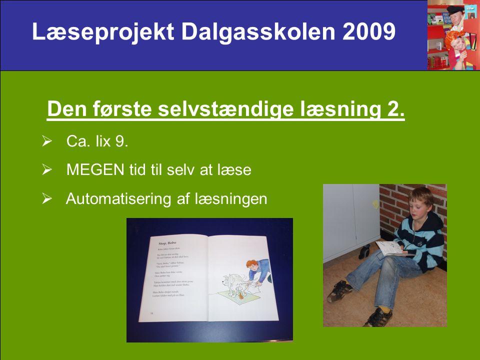 Læseprojekt Dalgasskolen 2009 Den første selvstændige læsning 2.