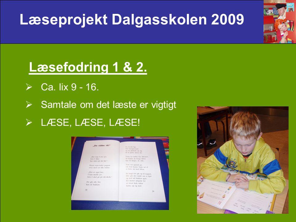Læseprojekt Dalgasskolen 2009 Læsefodring 1 & 2.  Ca.