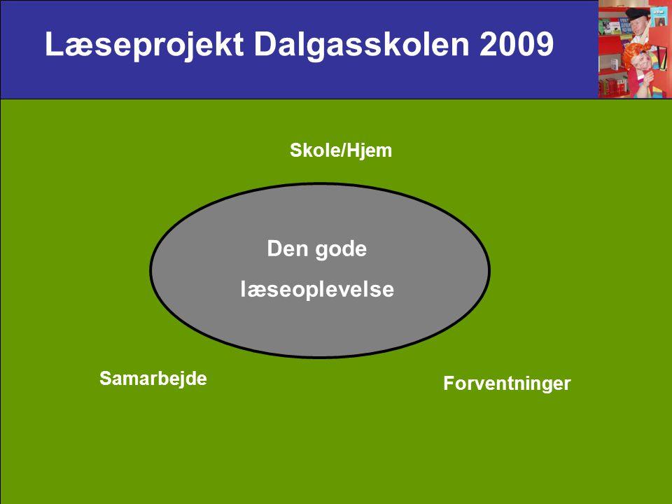 Læseprojekt Dalgasskolen 2009 Den gode læseoplevelse Samarbejde Forventninger Skole/Hjem
