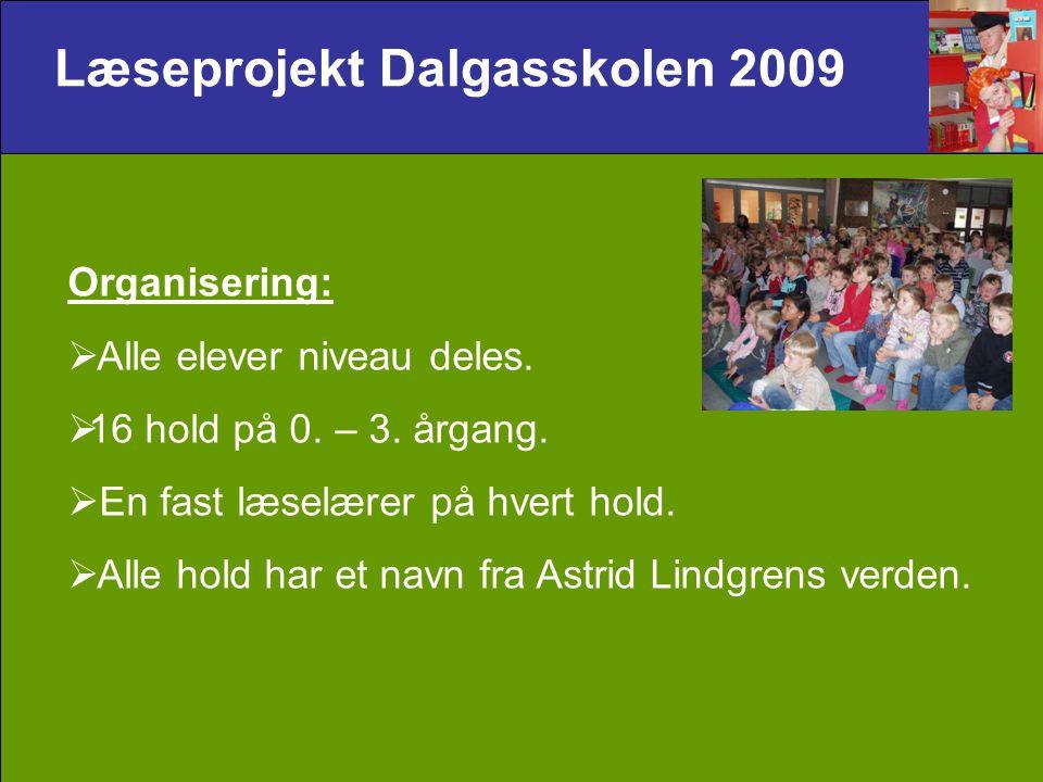 Læseprojekt Dalgasskolen 2009 Organisering:  Alle elever niveau deles.