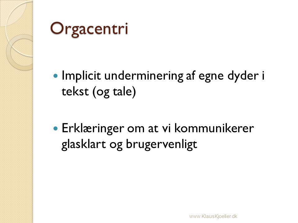Orgacentri Implicit underminering af egne dyder i tekst (og tale) Erklæringer om at vi kommunikerer glasklart og brugervenligt www.KlausKjoeller.dk