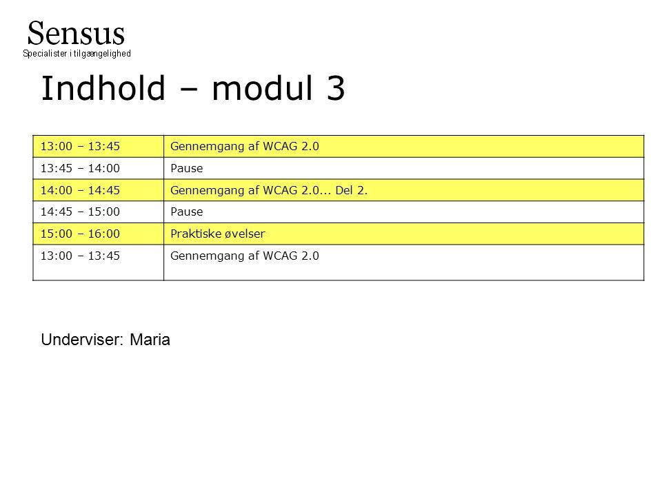 Indhold – modul 3 13:00 – 13:45 Gennemgang af WCAG 2.0 13:45 – 14:00 Pause 14:00 – 14:45 Gennemgang af WCAG 2.0...