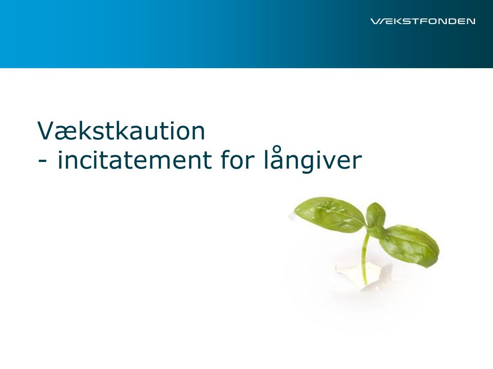 Vækstkaution - incitatement for långiver