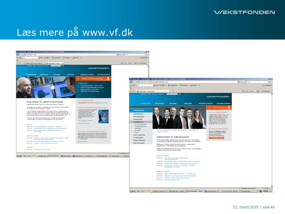/ side21. marts 2015 40 Læs mere på www.vf.dk