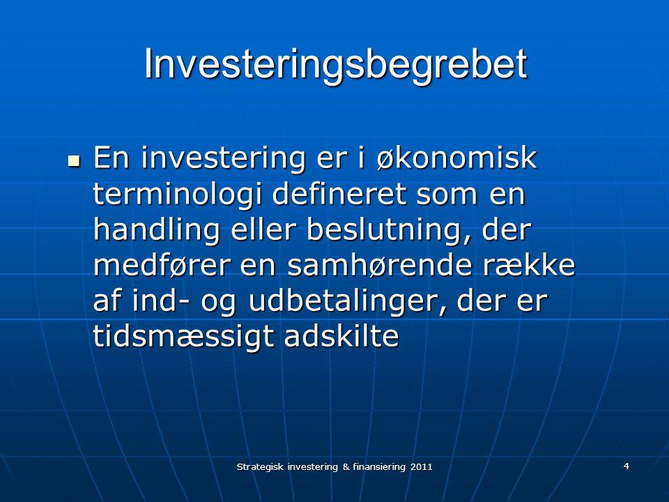 4 Investeringsbegrebet En investering er i økonomisk terminologi defineret som en handling eller beslutning, der medfører en samhørende række af ind- og udbetalinger, der er tidsmæssigt adskilte En investering er i økonomisk terminologi defineret som en handling eller beslutning, der medfører en samhørende række af ind- og udbetalinger, der er tidsmæssigt adskilte