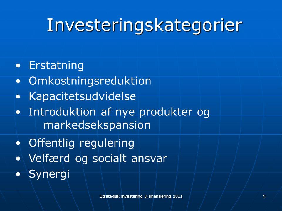 Strategisk investering & finansiering 2011 5 Erstatning Omkostningsreduktion Kapacitetsudvidelse Introduktion af nye produkter og markedsekspansion Offentlig regulering Velfærd og socialt ansvar Investeringskategorier Investeringskategorier Synergi