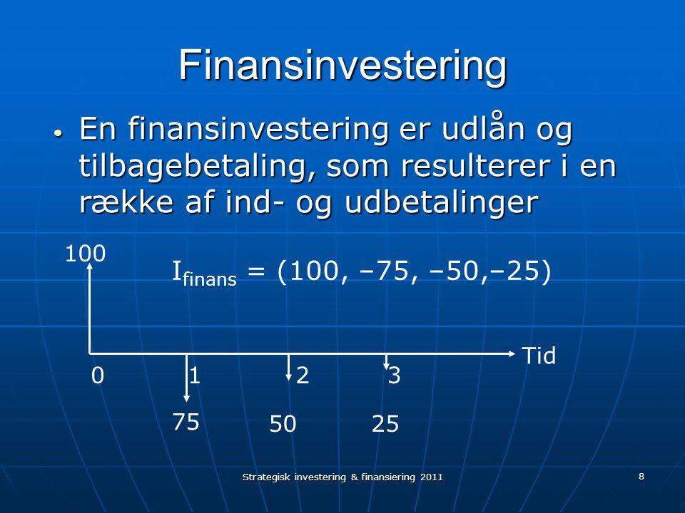 Strategisk investering & finansiering 2011 8 Finansinvestering En finansinvestering er udlån og tilbagebetaling, som resulterer i en række af ind- og udbetalinger En finansinvestering er udlån og tilbagebetaling, som resulterer i en række af ind- og udbetalinger 100 75 5025 1203 Tid I finans = (100, –75, –50,–25)