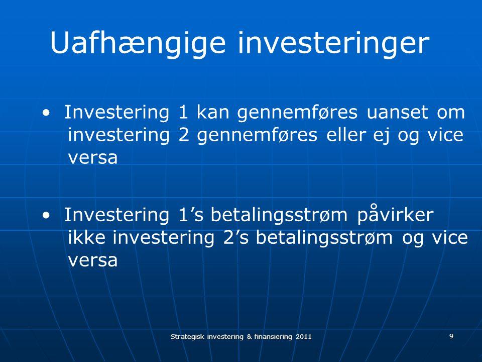 Strategisk investering & finansiering 2011 9 Investering 1 kan gennemføres uanset om investering 2 gennemføres eller ej og vice versa Investering 1's betalingsstrøm påvirker ikke investering 2's betalingsstrøm og vice versa Uafhængige investeringer