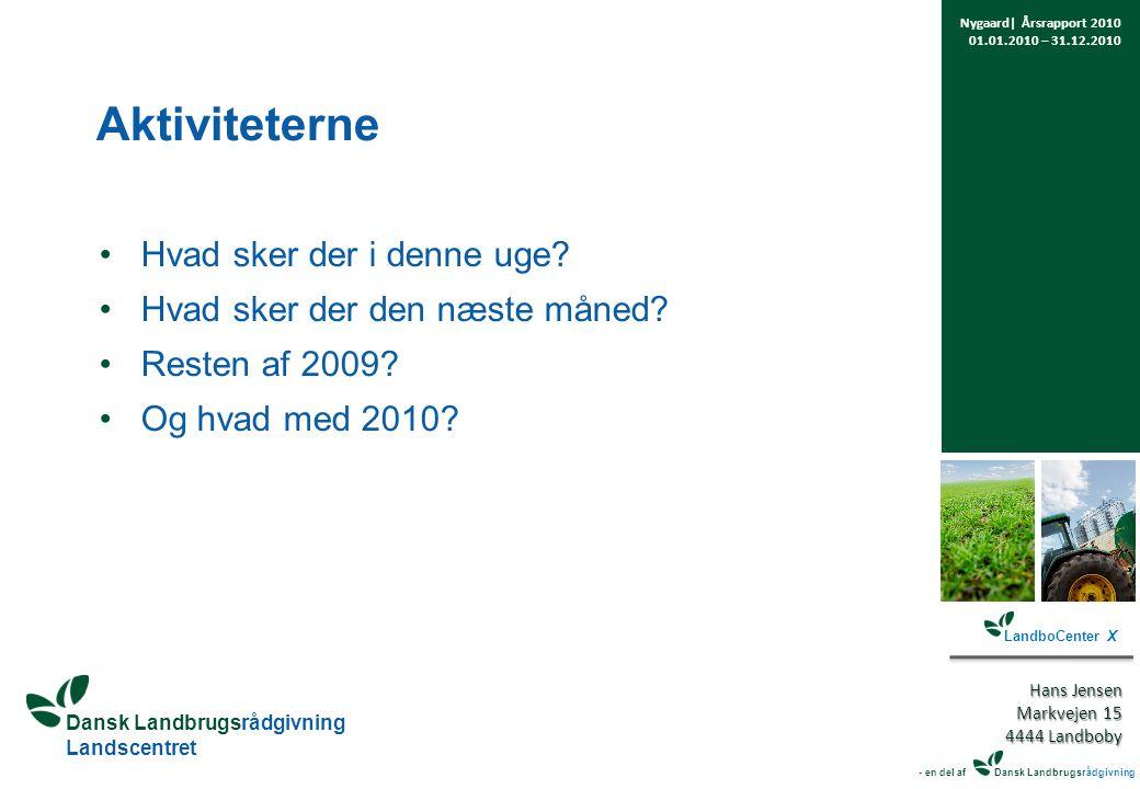 Dansk Landbrugsrådgivning Landscentret Aktiviteterne Hvad sker der i denne uge.