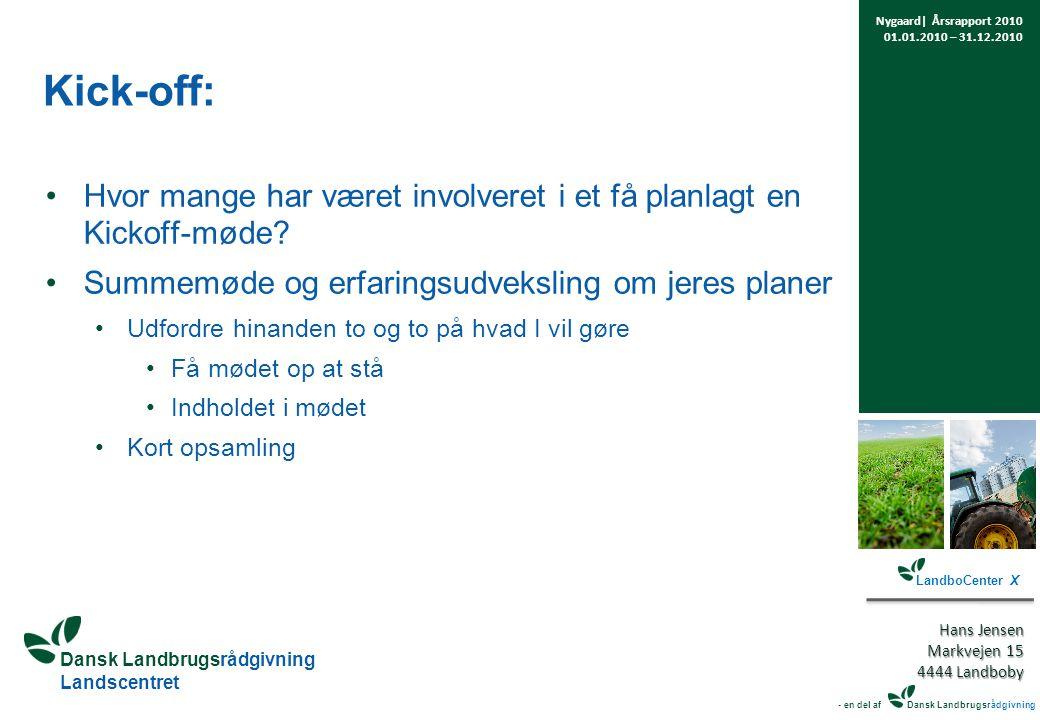 Dansk Landbrugsrådgivning Landscentret Kick-off: Hvor mange har været involveret i et få planlagt en Kickoff-møde.