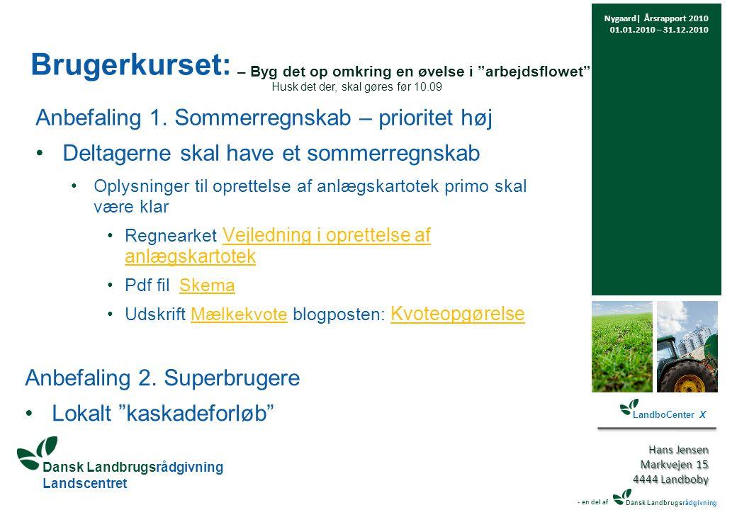 Dansk Landbrugsrådgivning Landscentret Brugerkurset: Anbefaling 1.