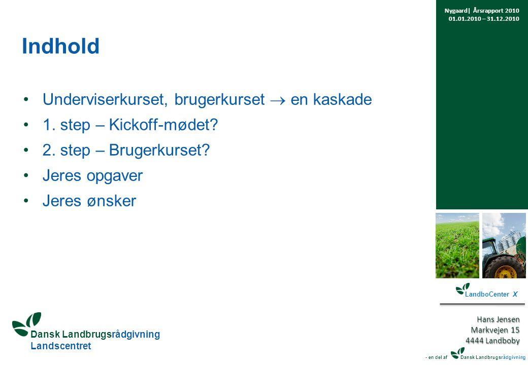 Dansk Landbrugsrådgivning Landscentret Indhold Underviserkurset, brugerkurset  en kaskade 1.