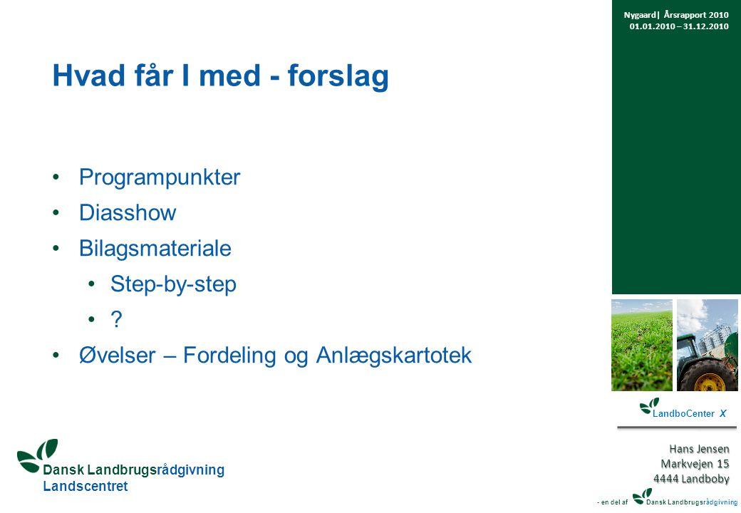 Dansk Landbrugsrådgivning Landscentret Hvad får I med - forslag Programpunkter Diasshow Bilagsmateriale Step-by-step .