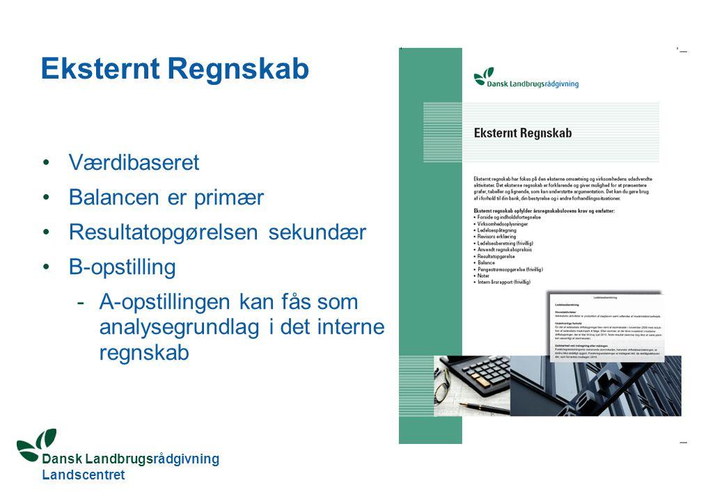 Dansk Landbrugsrådgivning Landscentret Eksternt Regnskab Værdibaseret Balancen er primær Resultatopgørelsen sekundær B-opstilling -A-opstillingen kan fås som analysegrundlag i det interne regnskab