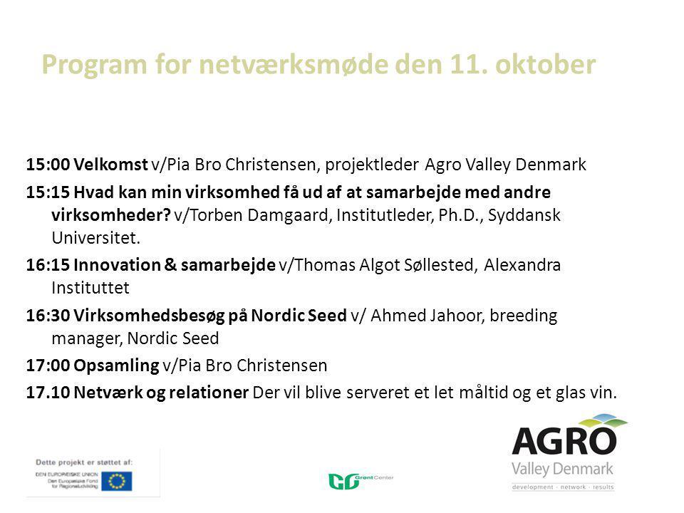 Program for netværksmøde den 11.