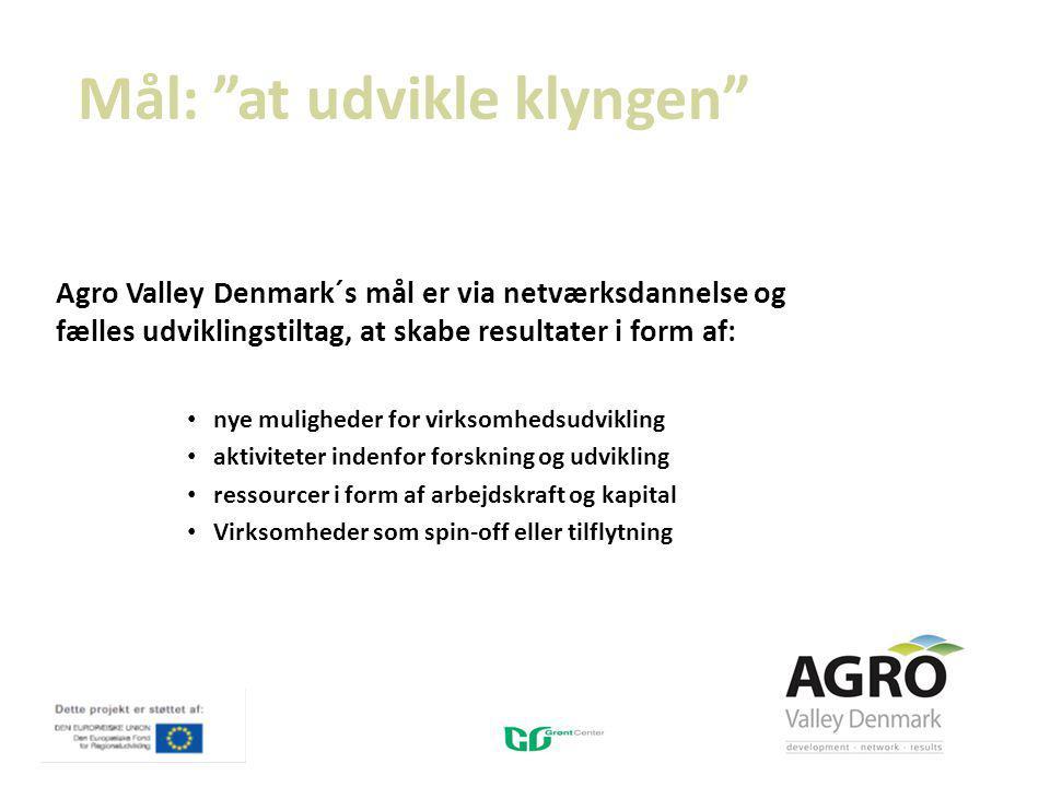 Mål: at udvikle klyngen Agro Valley Denmark´s mål er via netværksdannelse og fælles udviklingstiltag, at skabe resultater i form af: nye muligheder for virksomhedsudvikling aktiviteter indenfor forskning og udvikling ressourcer i form af arbejdskraft og kapital Virksomheder som spin-off eller tilflytning