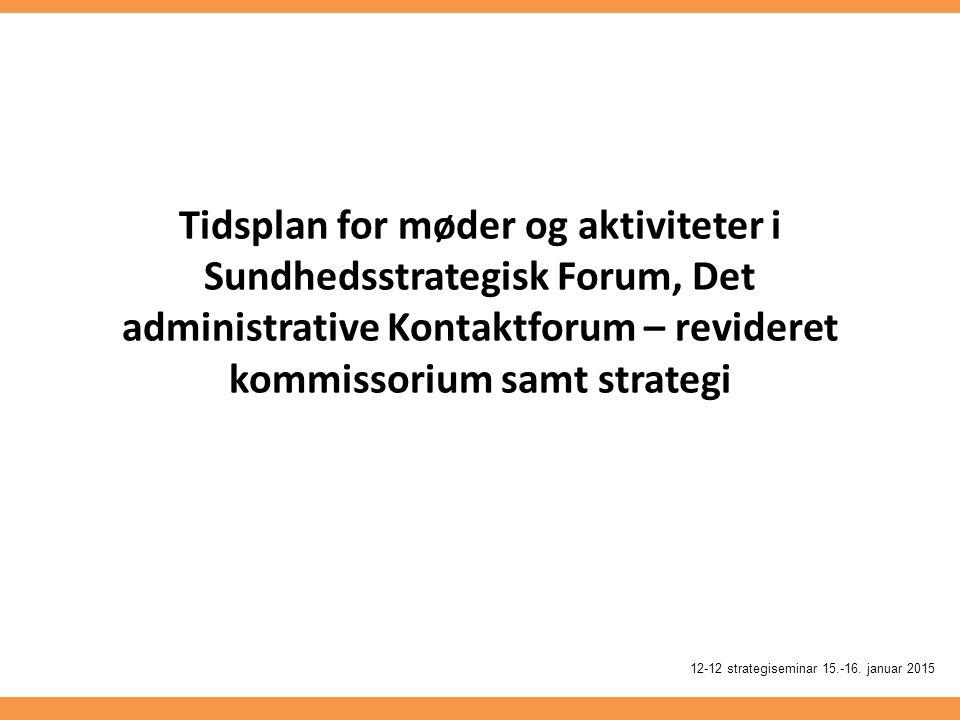 Tidsplan for møder og aktiviteter i Sundhedsstrategisk Forum, Det administrative Kontaktforum – revideret kommissorium samt strategi 12-12 strategiseminar 15.-16.
