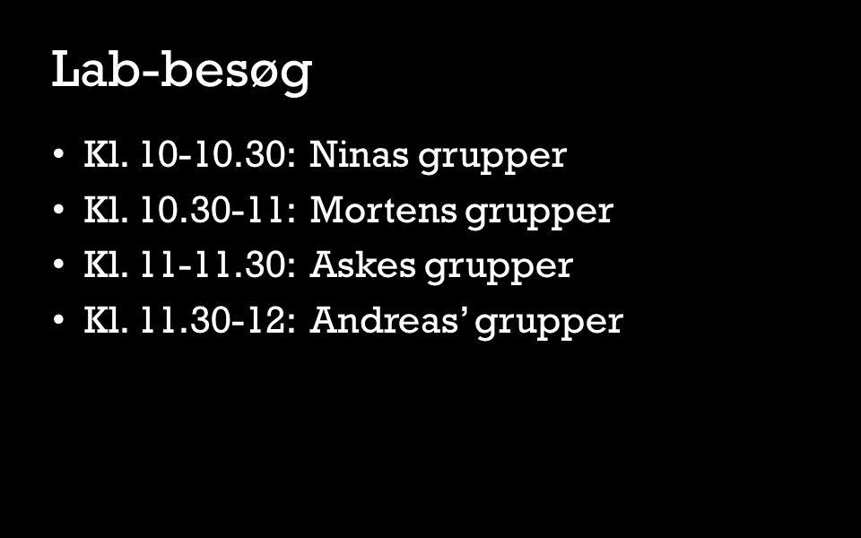 Lab-besøg Kl. 10-10.30: Ninas grupper Kl. 10.30-11: Mortens grupper Kl.