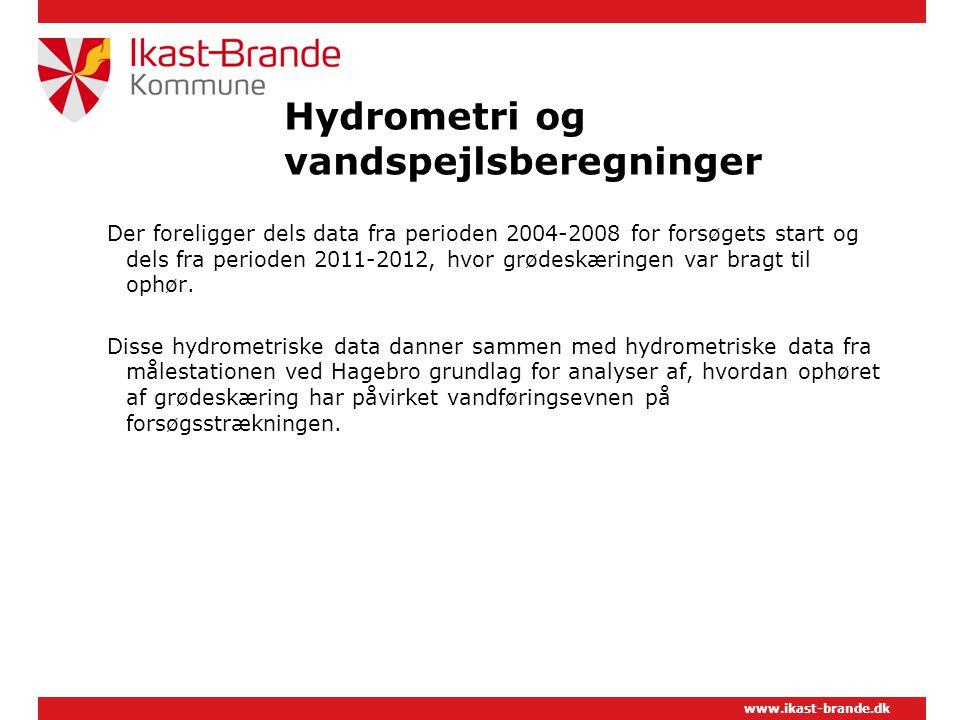 www.ikast-brande.dk Hydrometri og vandspejlsberegninger Der foreligger dels data fra perioden 2004-2008 for forsøgets start og dels fra perioden 2011-2012, hvor grødeskæringen var bragt til ophør.