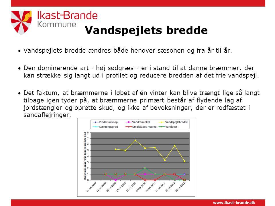 www.ikast-brande.dk Vandspejlets bredde  Vandspejlets bredde ændres både henover sæsonen og fra år til år.